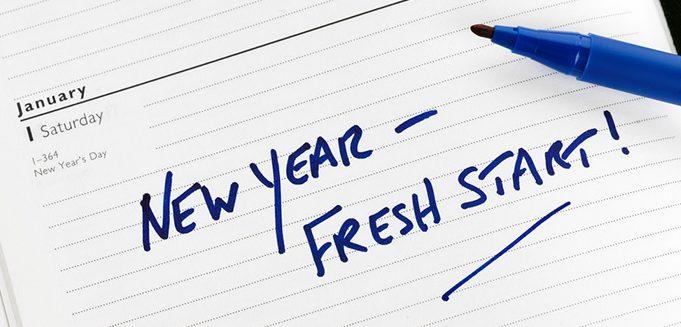 New Year calendar with fresh start