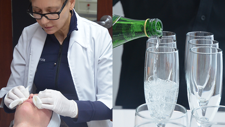woman giving peel treatment, sparkling water poured into glass