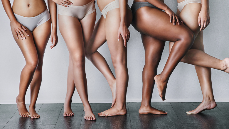 photo of five women's thighs