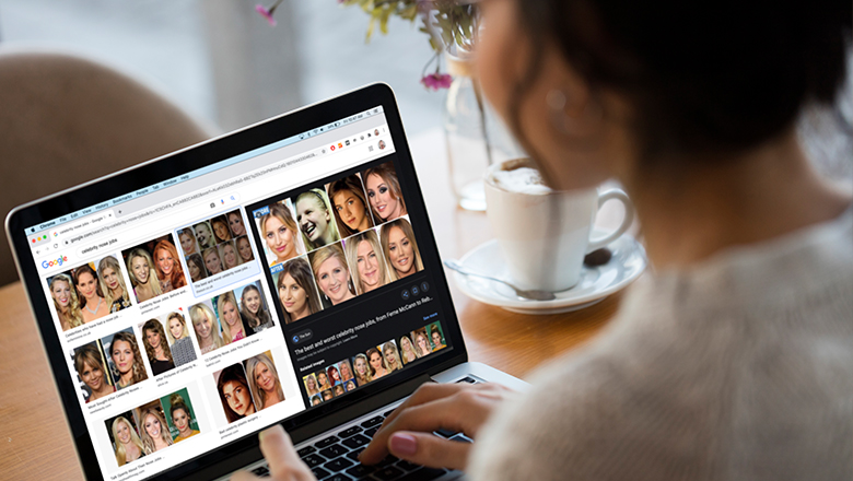woman looking at celebrity nose job image results
